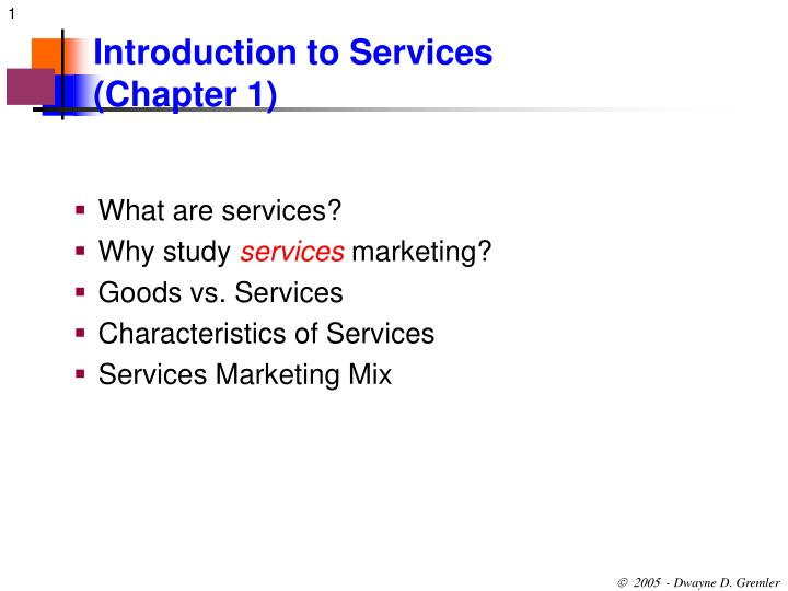 introduction to services chapter 1 n.