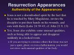 resurrection appearances authenticity of the appearances4