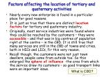 factors affecting the location of tertiary and quaternary activities