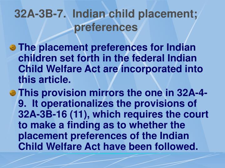 32A-3B-7.  Indian child placement; preferences