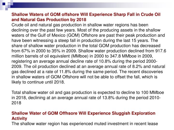 Shallow Waters of GOM offshore Will Experience Sharp Fall in Crude Oil and Natural Gas Production by...