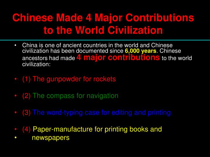 contribution of chinese civilization to the world