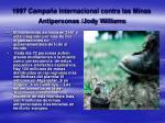 1997 campa a internacional contra las minas antipersonas jody williams