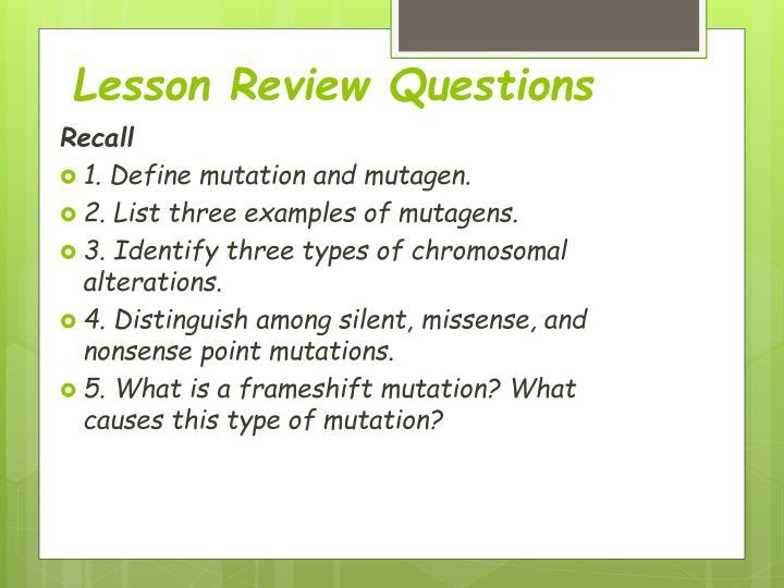 Lesson Review Questions