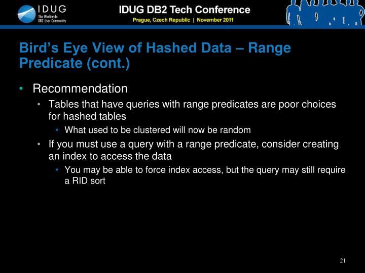 Bird's Eye View of Hashed Data – Range Predicate (cont.)
