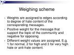 weighing scheme