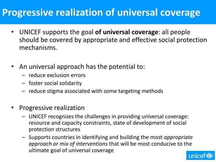 Progressive realization of universal coverage