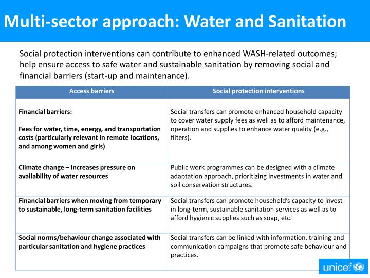 Multi-sector approach: Water and Sanitation