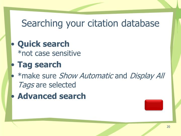 Searching your citation database