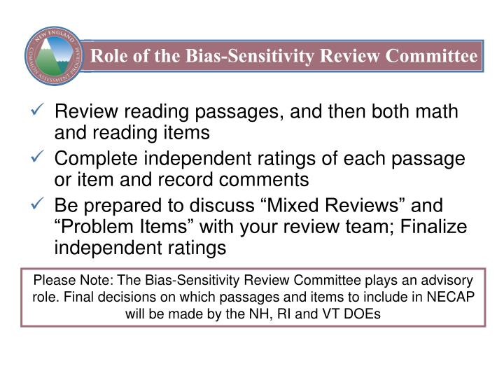 Role of the Bias-Sensitivity Review Committee