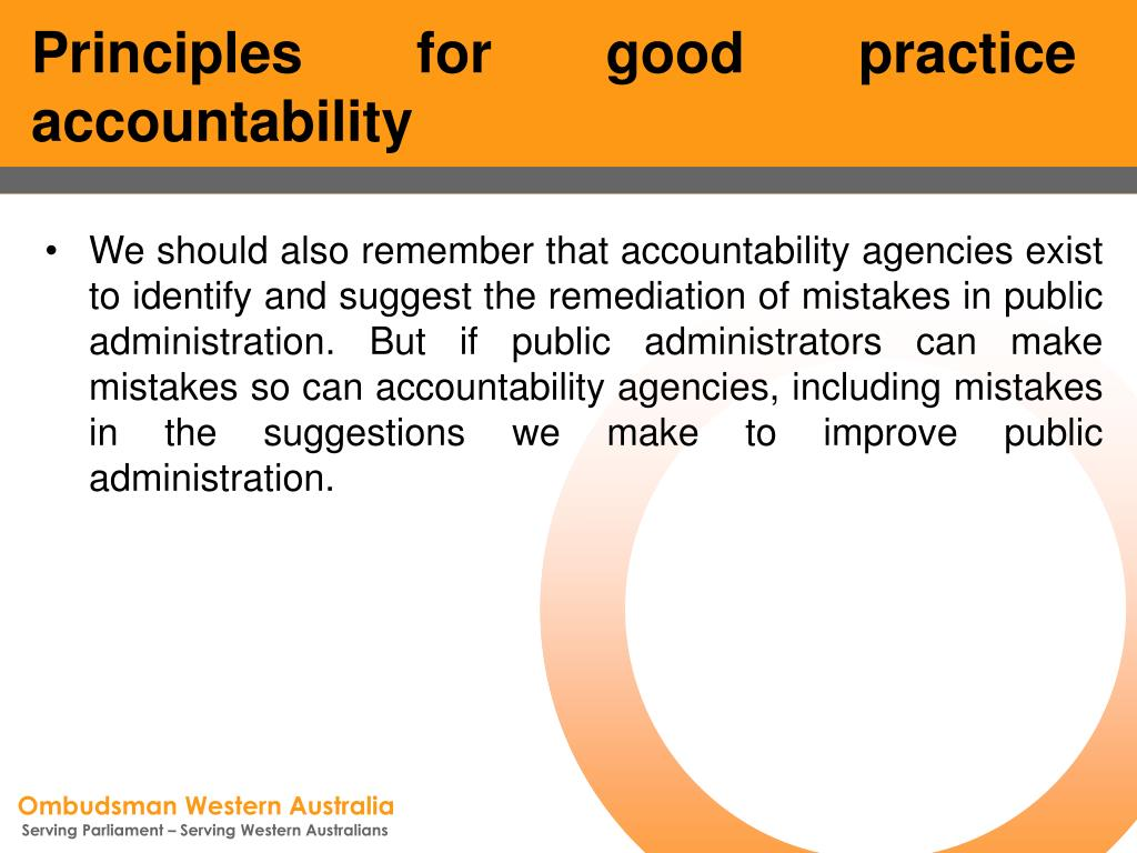 Principles for good practice accountability