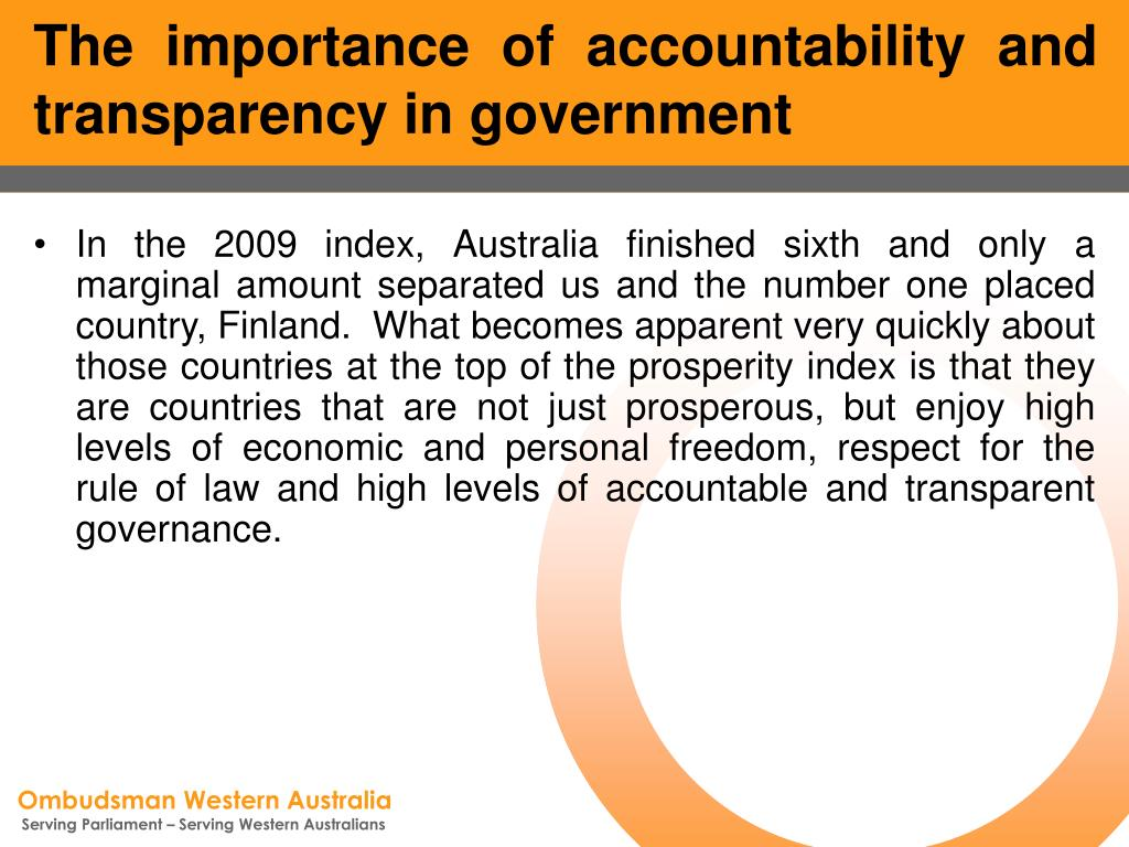 The importance of accountability and transparency in government