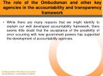 the role of the ombudsman and other key agencies in the accountability and transparency framework14