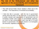 the role of the ombudsman and other key agencies in the accountability and transparency framework15