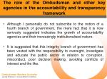 the role of the ombudsman and other key agencies in the accountability and transparency framework16