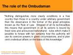 the role of the ombudsman33