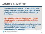 attitudes to the whm visa
