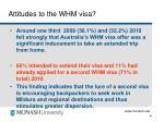 attitudes to the whm visa