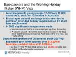 backpackers and the working holiday maker whm visa