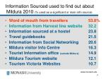 information sourced used to find out about mildura 2010 used as a significant or main info source