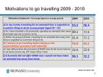 motivations to go travelling 2009 2010