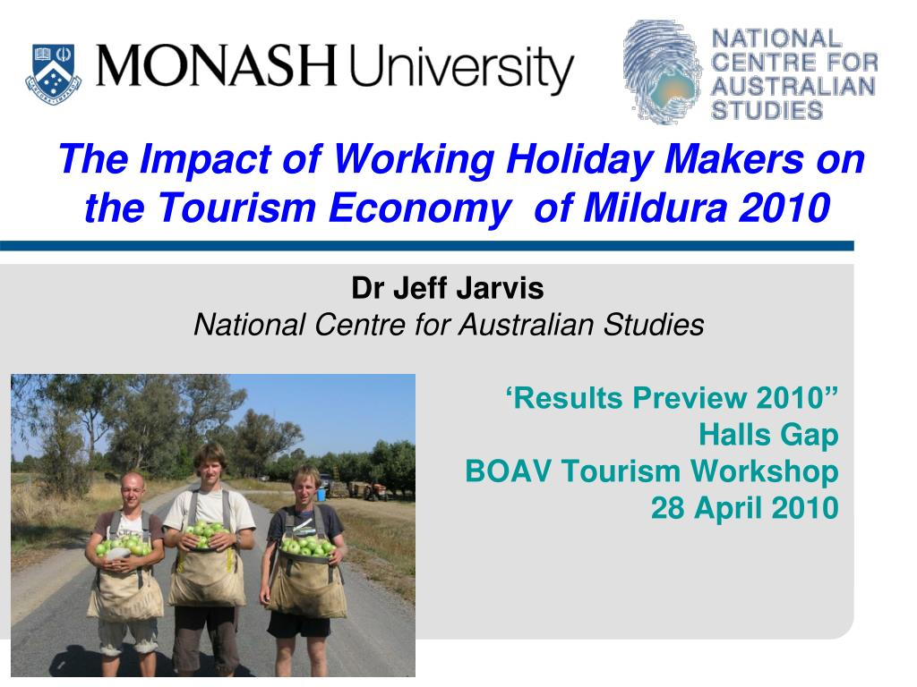 the impact of working holiday makers on the tourism economy of mildura 2010 l.
