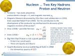 nucleon two key hadrons proton and neutron