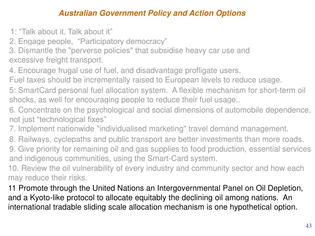Australian Government Policy and Action Options