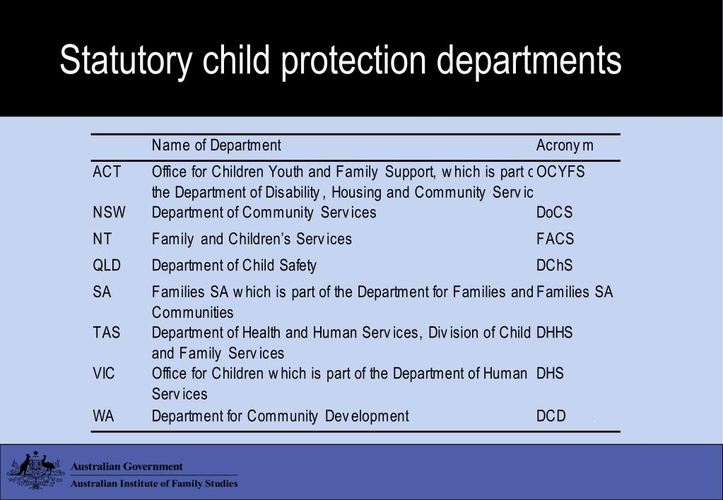 Statutory child protection departments
