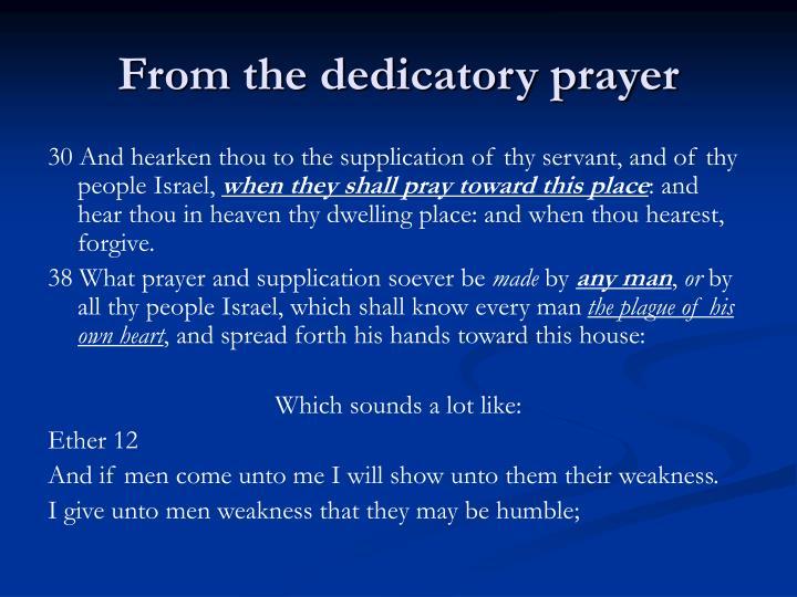 From the dedicatory prayer