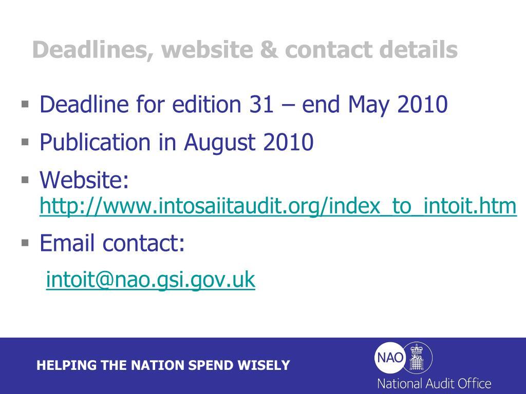 Deadlines, website & contact details
