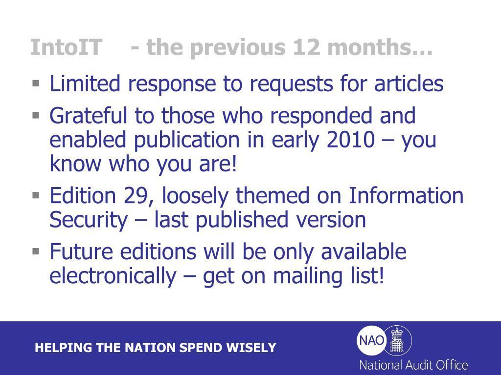 IntoIT- the previous 12 months…
