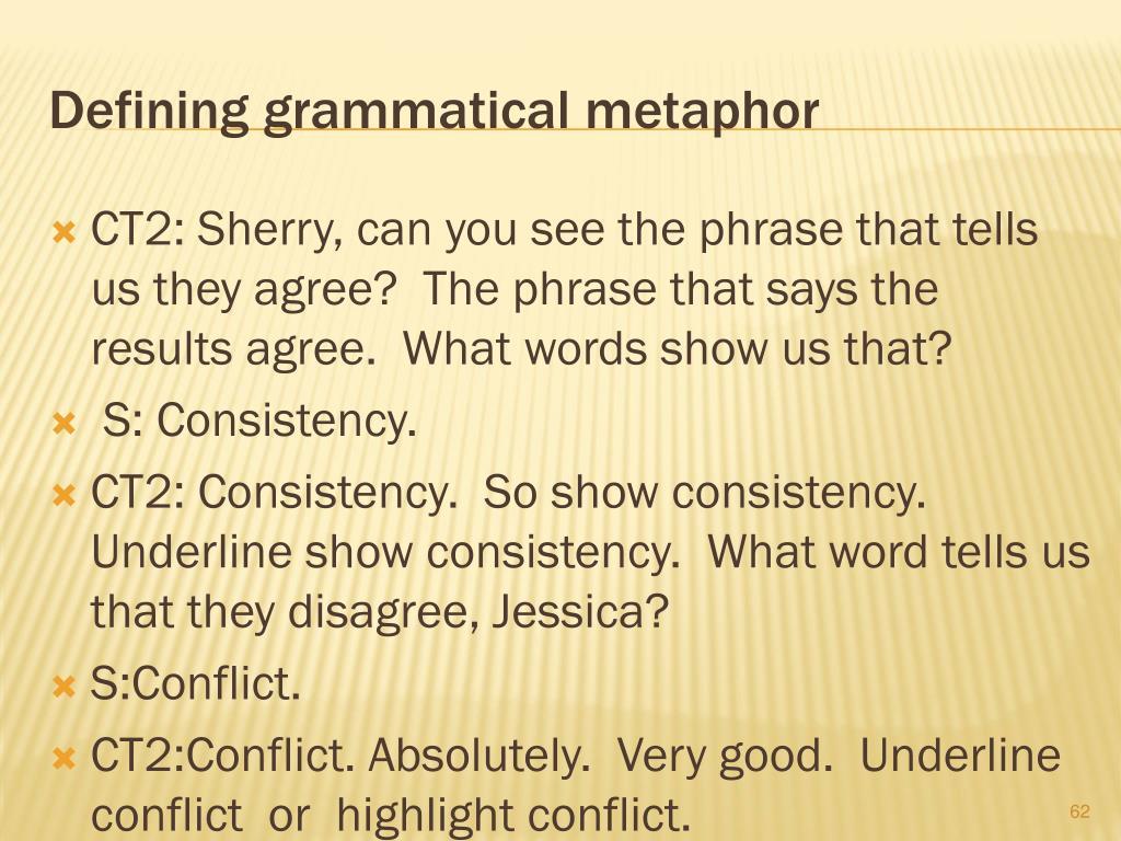 Defining grammatical metaphor
