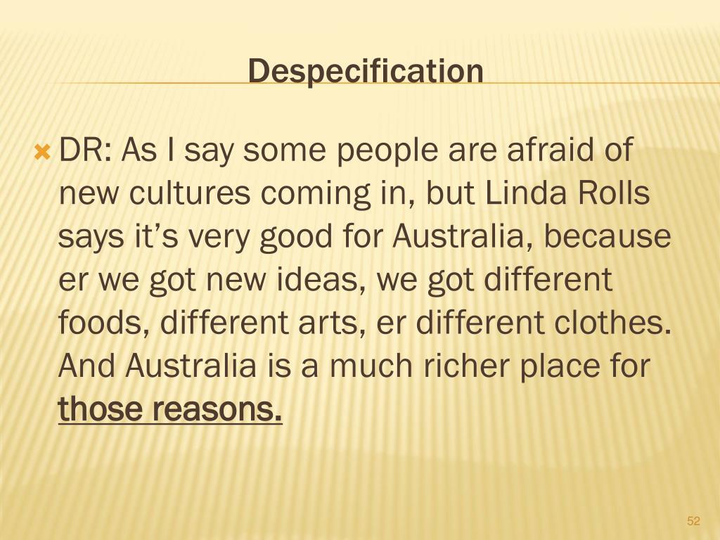 Despecification