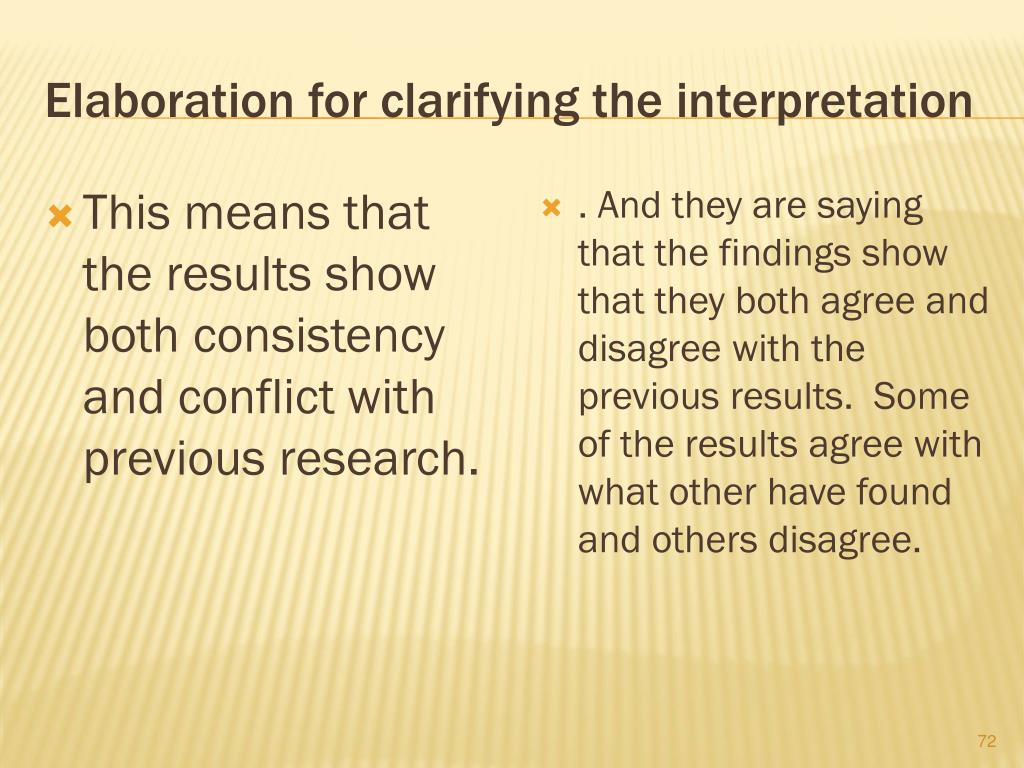 Elaboration for clarifying the interpretation