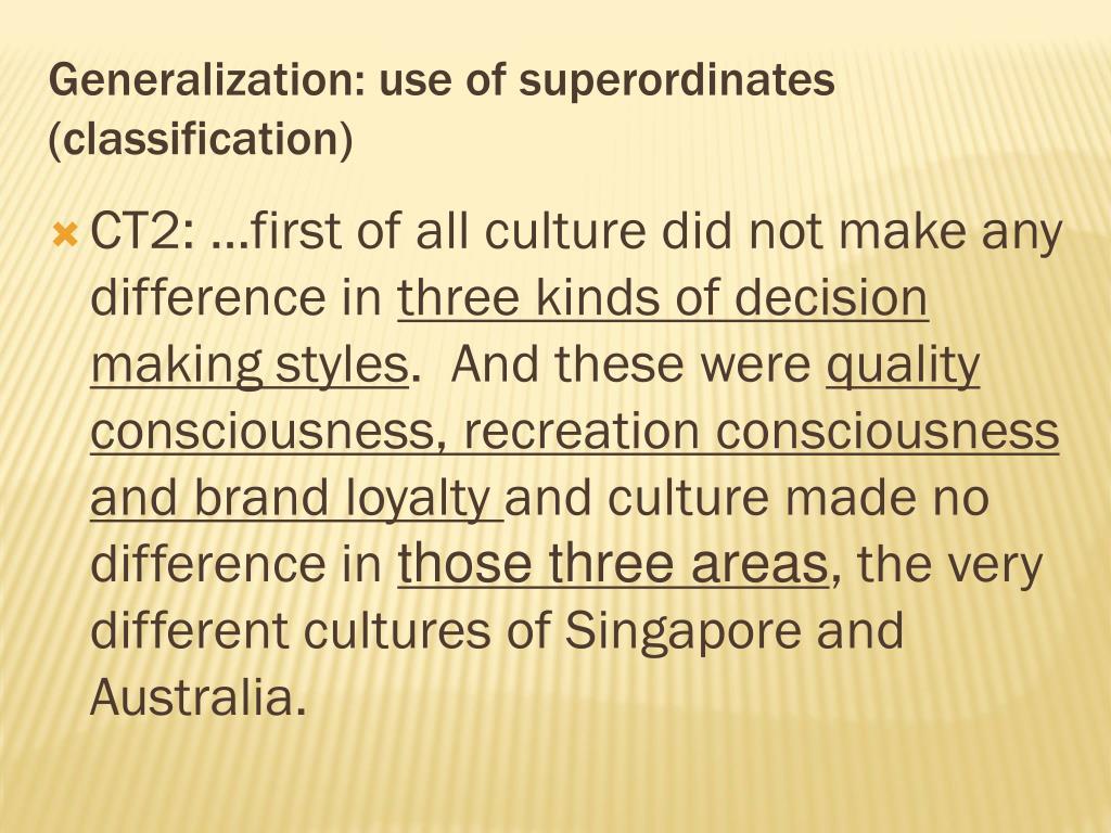 Generalization: use of superordinates (classification)