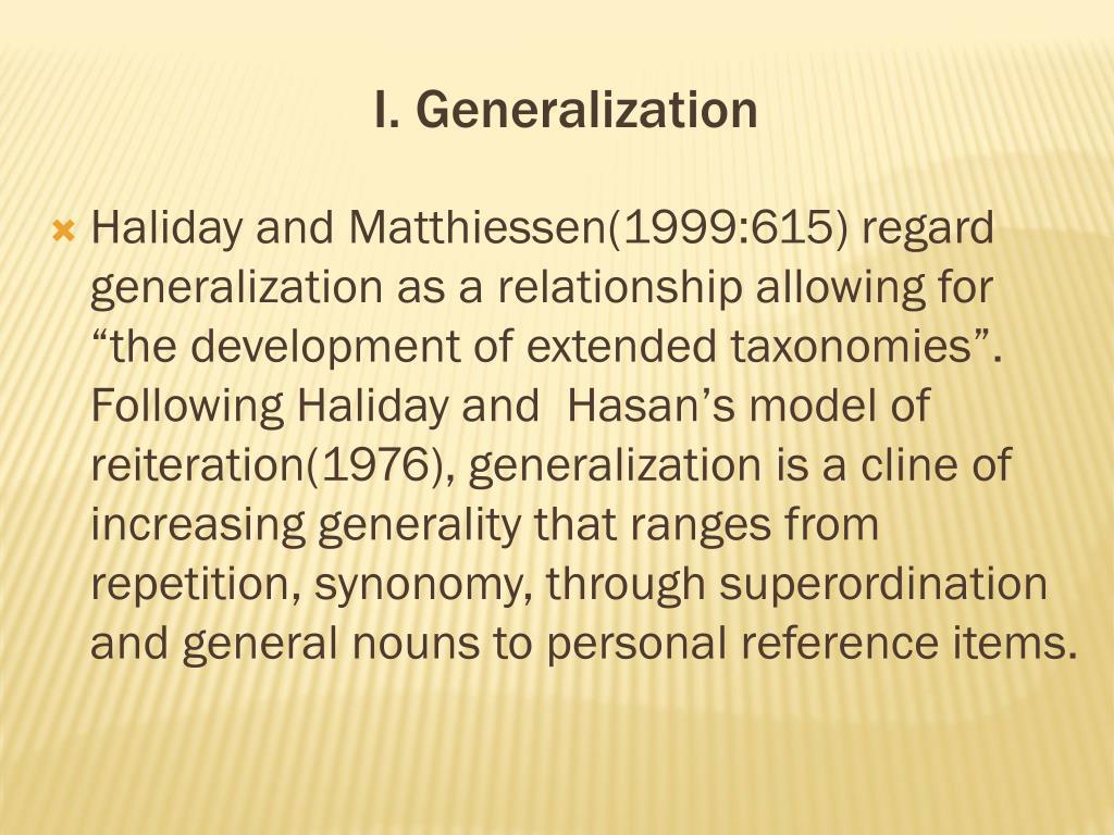 I. Generalization