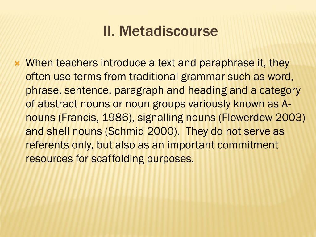 II. Metadiscourse