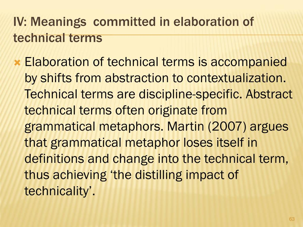 IV: Meanings  committed in elaboration of technical terms