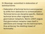 iv meanings committed in elaboration of technical terms