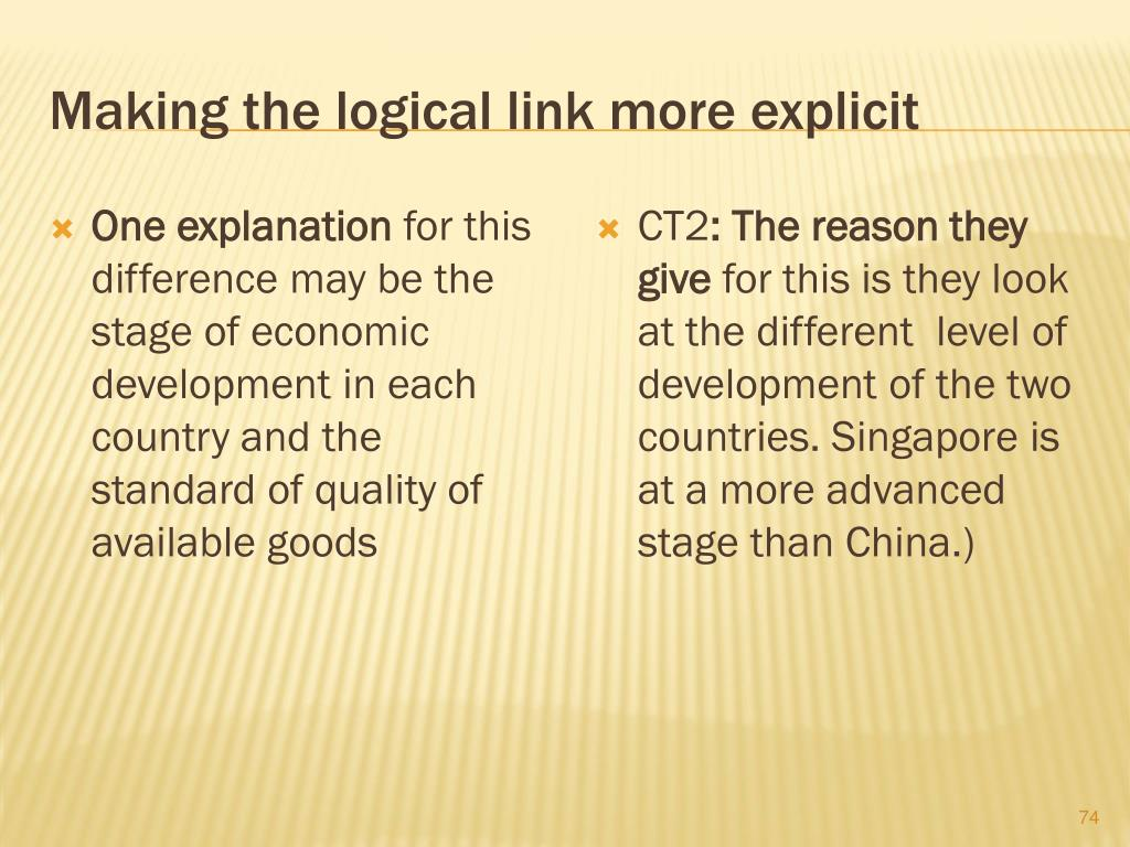 Making the logical link more explicit