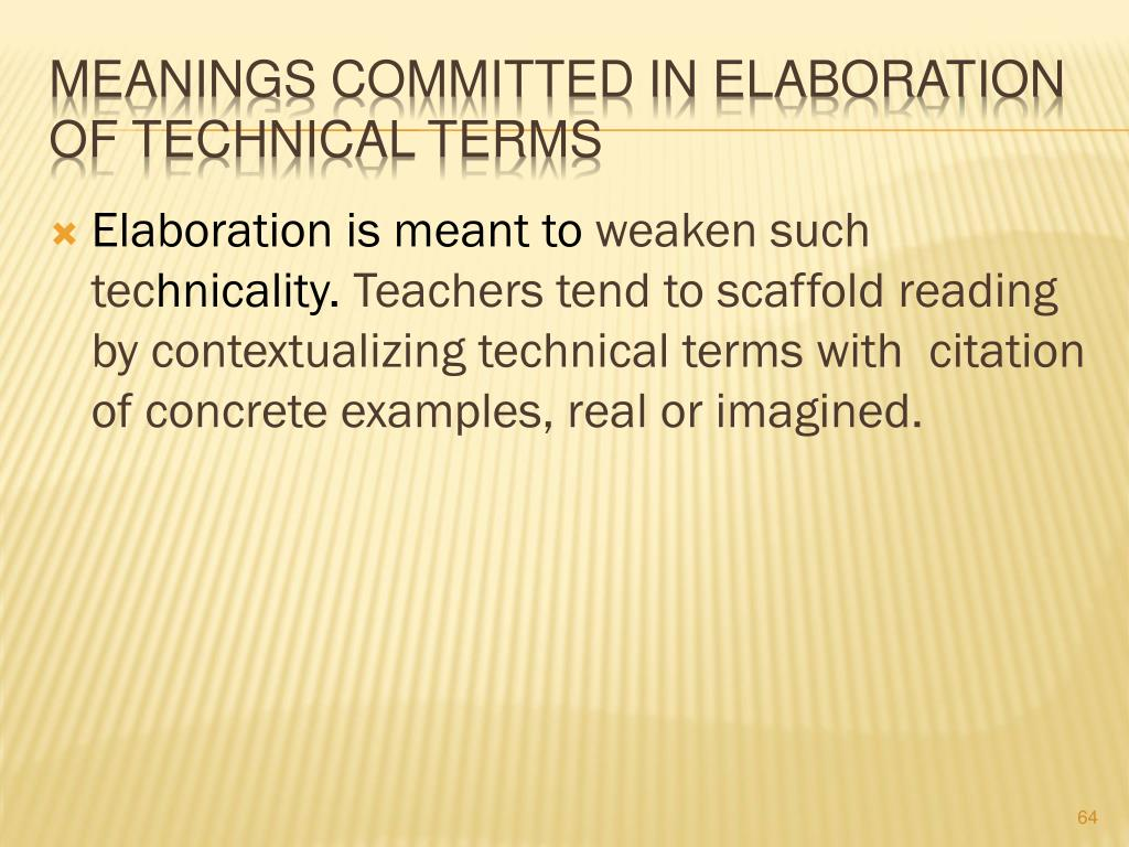 Meanings Committed in Elaboration of Technical Terms