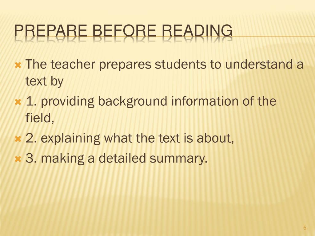 The teacher prepares students to understand a text by