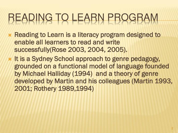 Reading to learn program