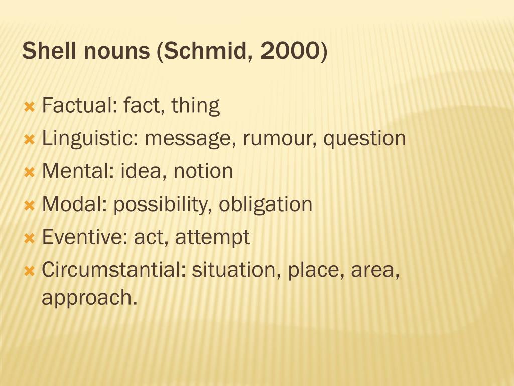 Shell nouns (Schmid, 2000)