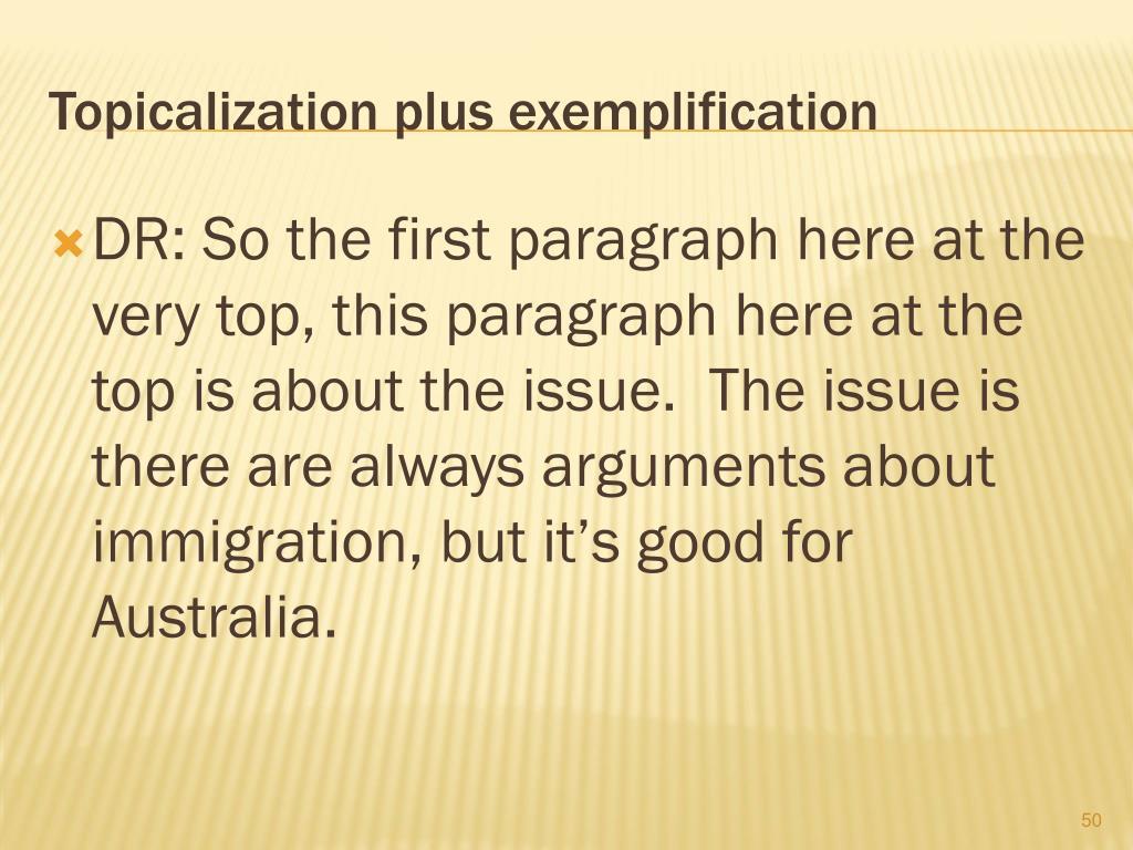 Topicalization plus exemplification