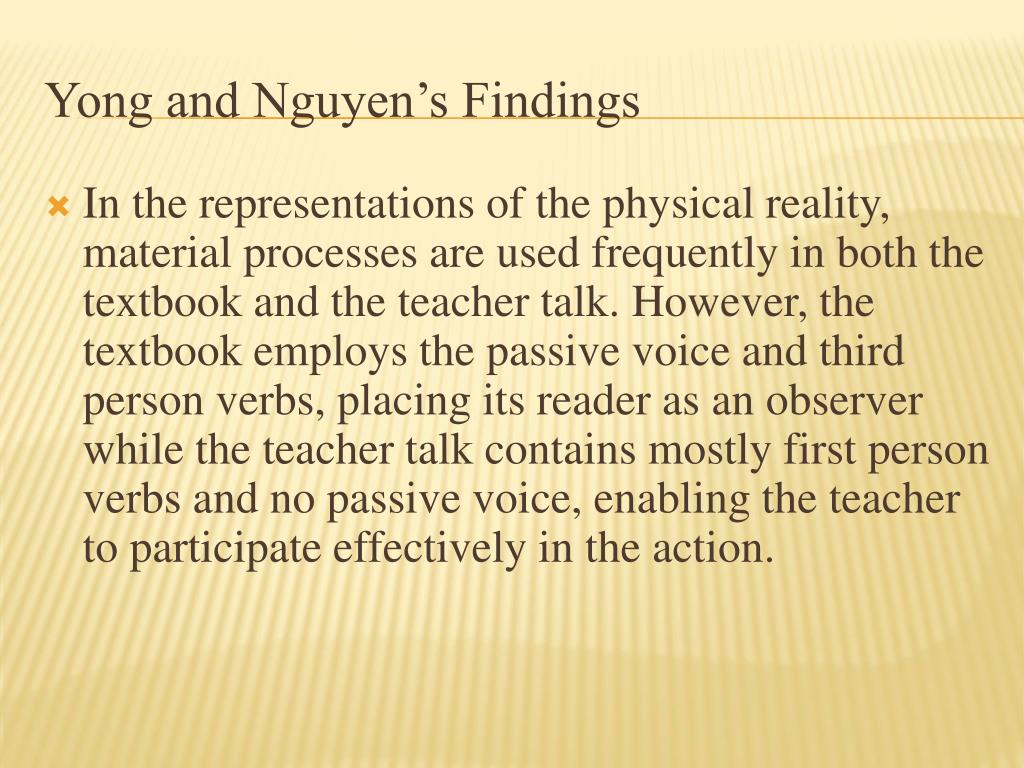 Yong and Nguyen's Findings