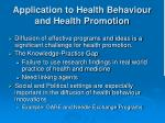 application to health behaviour and health promotion