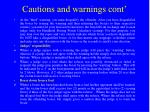 cautions and warnings cont