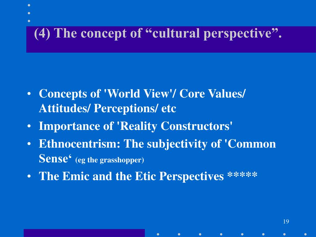 """(4) The concept of """"cultural perspective""""."""